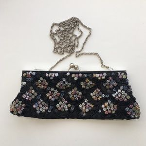 Vintage Beaded Clutch Shoulder Bag w Metal Closure